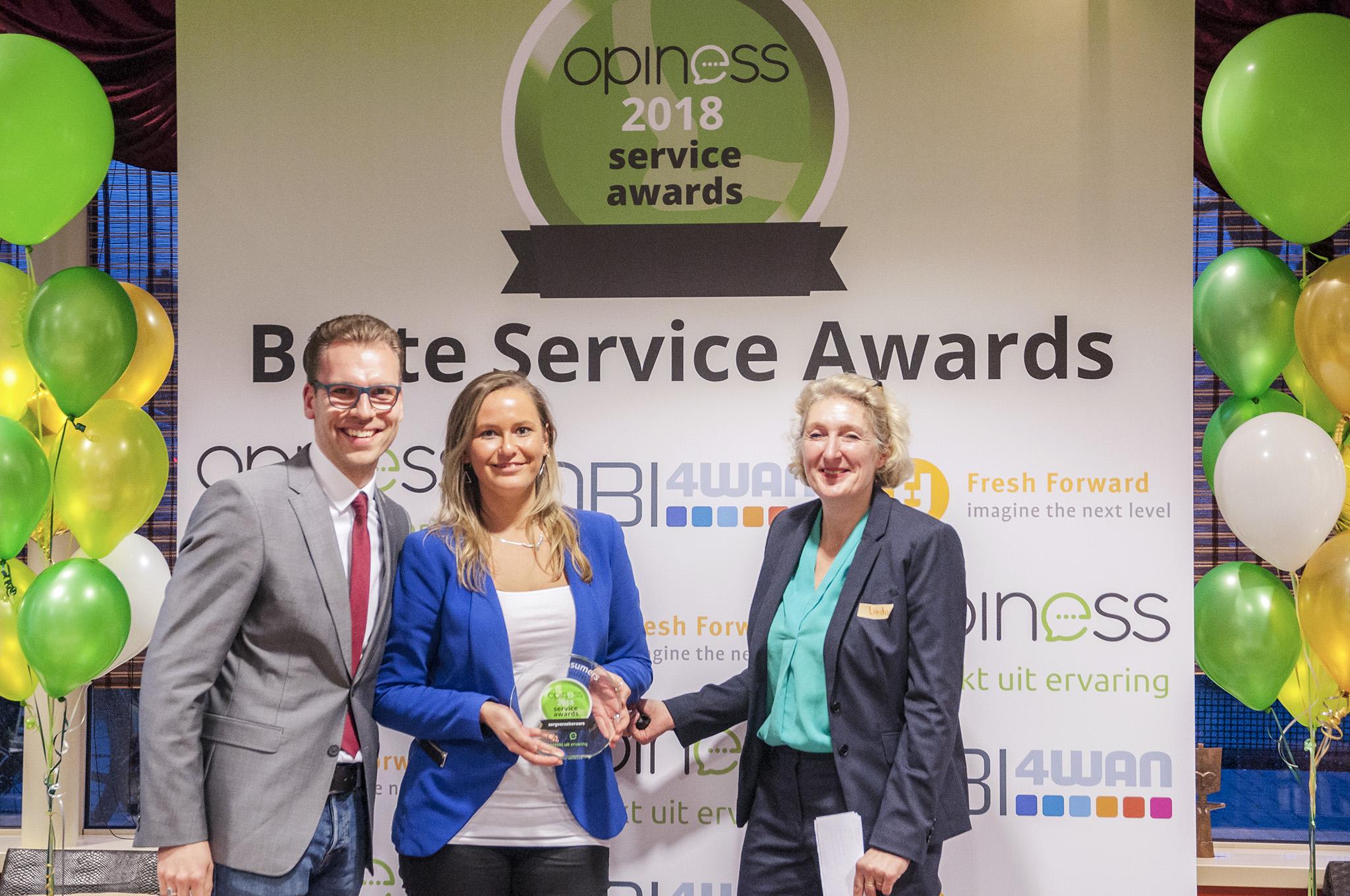 Winnaar UnitedConsumers zorgverzekeringen Opiness Service Award
